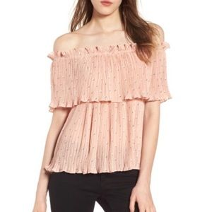 CHLOE & KATIE Ruffle Pleated Off the Shoulder Top
